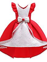 Недорогие -Дети Дети (1-4 лет) Девочки Активный Милая Пэчворк Пэчворк С короткими рукавами До колена Платье Красный