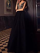 Недорогие -А-силуэт Погруженный декольте В пол Тюль Выпускной Платье с Бусины от LAN TING Express