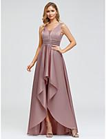 Недорогие -А-силуэт V-образный вырез Асимметричное Шармез Торжественное мероприятие Платье с Бусины от LAN TING Express