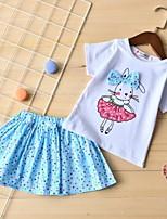 Недорогие -Дети Девочки Классический Мультипликация С короткими рукавами Набор одежды Светло-синий