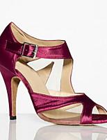 Недорогие -Жен. Танцевальная обувь Искусственная кожа Обувь для латины На каблуках Тонкий высокий каблук Черный / Красный