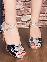 Недорогие -Жен. Танцевальная обувь Искусственная кожа Обувь для латины На каблуках Тонкий высокий каблук Золотой / Серебряный / Синий