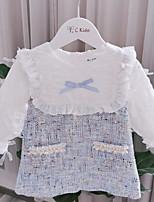Недорогие -Дети Девочки Симпатичные Стиль Контрастных цветов Платье Светло-синий