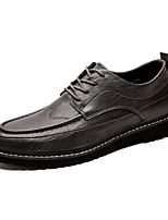 Недорогие -Муж. Кожаные ботинки Искусственная кожа Лето / Осень Туфли на шнуровке Черный / Коричневый / Серый