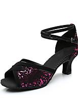 Недорогие -Жен. Танцевальная обувь Синтетика Обувь для латины На каблуках Кубинский каблук Персонализируемая Черный / Черный и золотой / Черный / Красный