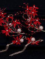Недорогие -Жен. Свадебные комплекты ювелирных изделий Цветы Мода Жемчуг Серьги Бижутерия Красный Назначение Свадьба Для вечеринок 1 комплект