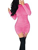 Недорогие -Жен. Классический Облегающий силуэт Платье - Однотонный Мини