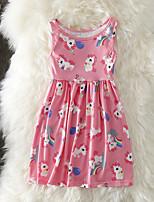 Недорогие -Дети Дети (1-4 лет) Девочки Активный Милая Unicorn Мультипликация С принтом Без рукавов До колена Платье Розовый