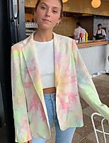 Недорогие -Жен. Блейзер, Радужный Лацкан с острым углом Полиэстер Цвет радуги