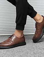 Недорогие -Муж. Комфортная обувь Микроволокно Лето Туфли на шнуровке Дышащий Черный / Коричневый / Серый