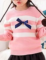 Недорогие -Дети Девочки Классический Полоски Длинный рукав Свитер / кардиган Розовый