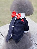 Недорогие -Собаки Инвентарь смокинг Одежда для собак Полоски Темно-синий Полиэстер Костюм Назначение Лето Свадьба