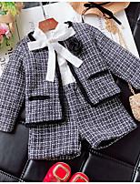 Недорогие -Дети (1-4 лет) Девочки Классический Шахматка Длинный рукав Набор одежды Серый