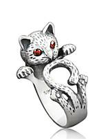 Недорогие -Жен. Кольцо 1шт Серебряный Сплав Мода Повседневные Бижутерия Кошка