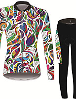 Недорогие -21Grams Цветочные ботанический Жен. Длинный рукав Велокофты и лосины - Черный / Белый Велоспорт Наборы одежды Сохраняет тепло Дышащий Быстровысыхающий Виды спорта Зима Терилен Полиэфирная тафта