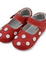 Недорогие -Девочки Удобная обувь Кожа На плокой подошве Маленькие дети (4-7 лет) Белый / Красный Осень