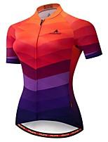 Недорогие -Miloto Жен. С короткими рукавами Велокофты Голубой + оранжевый Велоспорт Джерси Влагоотводящие Виды спорта 100% полиэстер Одежда / Эластичная