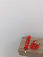 Недорогие -Жен. Серьги Классический Радость Серьги Бижутерия Зеленый / Красный Назначение Подарок Повседневные фестиваль 1 пара