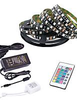 Недорогие -5 метров Гибкие светодиодные ленты / RGB ленты / Пульты управления 300 светодиоды 5050 SMD 1 пульт дистанционного управления 24Keys / 1 адаптер x 12V 2A Разные цвета / 85-265