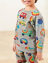 Недорогие -Дети Мальчики Классический Геометрический принт Длинный рукав Набор одежды Серый