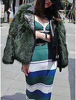 Недорогие -Жен. На выход Уличный стиль Наступила зима Обычная Искусственное меховое пальто, Однотонный V-образный вырез Длинный рукав Искусственный мех Пэчворк Черный / Белый / Военно-зеленный