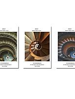 Недорогие -С картинкой Роликовые холсты - Абстракция Архитектура Modern 3 панели Репродукции