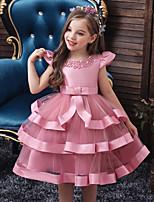 Недорогие -Дети Дети (1-4 лет) Девочки Активный Милая Однотонный Многослойный Без рукавов До колена Платье Розовый