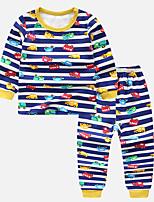 Недорогие -Дети Мальчики Классический Мультипликация Длинный рукав Обычная Набор одежды Синий