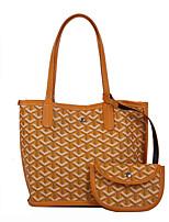 cheap -Women's Polyester / PU Bag Set Geometric Pattern 2 Pieces Purse Set Brown / Yellow / Green