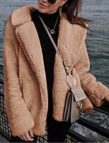 Недорогие -Жен. Повседневные Обычная Искусственное меховое пальто, Однотонный Лацкан с тупым углом Длинный рукав Искусственный мех Черный / Военно-зеленный / Верблюжий
