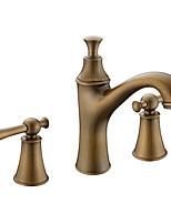 Недорогие -Ванная раковина кран - Широко распространенный Античная медь По центру Две ручки три отверстияBath Taps