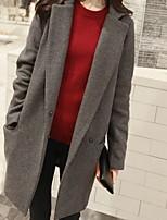 Недорогие -Жен. Повседневные Длинная Пальто, Однотонный Приподнятый круглый Длинный рукав Полиэстер Черный / Темно синий / Серый