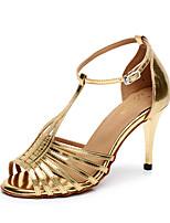 Недорогие -Жен. Танцевальная обувь Полиуретан Обувь для латины Планка На каблуках Тонкий высокий каблук Персонализируемая Золотой