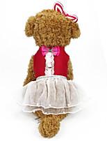 Недорогие -Собаки Коты Животные Платья Одежда для собак Бант Черный Желтый Красный Полиэстер Костюм Назначение Лето Симпатичные Стиль