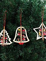 Недорогие -3 шт. / Компл. Деревянные рождественские украшения Xmas Tree кулон 3d украшения висит дома новый год безделушка украшения