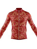 Недорогие -21Grams Муж. Длинный рукав Велокофты Красный + коричневый Велоспорт Джерси Верхняя часть Сохраняет тепло Устойчивость к УФ Дышащий Виды спорта Зима 100% полиэстер / Эластичная / Быстровысыхающий