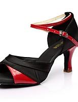 Недорогие -Жен. Танцевальная обувь Замша Обувь для латины На каблуках Тонкий высокий каблук Золотой / Серебряный / Красный