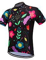 Недорогие -Vendull Цветочные ботанический Муж. С короткими рукавами Велокофты - Зеленый / черный Велоспорт Джерси Верхняя часть Дышащий Быстровысыхающий Анатомический дизайн Виды спорта 100% полиэстер