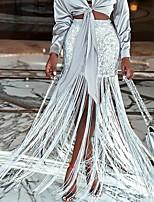 Недорогие -Жен. Макси Облегающий силуэт Подол Однотонный Серебряный S M L / С кисточками
