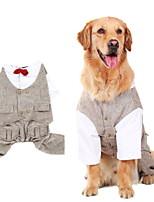 Недорогие -Собаки Комбинезоны Одежда для собак Полоски Кофейный Полиэстер Костюм Назначение Осень Зима Праздник Мода