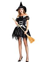 Недорогие -ведьма Платья Косплэй Kостюмы Шапки Костюм для вечеринки Взрослые Жен. Косплей Хэллоуин Хэллоуин Фестиваль / праздник Хлопко-полимерная смешанная ткань Черный Жен. Карнавальные костюмы / Платье