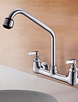 Недорогие -кухонный смеситель - Две ручки двумя отверстиями Многослойное Стандартный Носик Монтаж на стену Современный Kitchen Taps