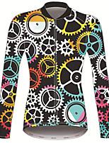 Недорогие -21Grams Мир и Любовь Жен. Длинный рукав Велокофты - Черный / желтый Велоспорт Джерси Верхняя часть Сохраняет тепло Устойчивость к УФ Дышащий Виды спорта Зима 100% полиэстер / Эластичная