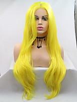 Недорогие -Синтетические кружевные передние парики Матовое стекло Kardashian Стиль Стрижка каскад Лента спереди Парик Блондинка Желтый Искусственные волосы 24 дюймовый Жен.