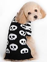 Недорогие -Собаки Свитера Одежда для собак Полоски Геометрический принт Черный Белый / Черный Полиэстер Костюм Назначение Зима Праздник Хэллоуин