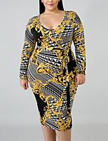 Недорогие -Жен. Классический Облегающий силуэт Оболочка Платье - Геометрический принт Средней длины