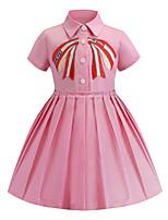 Недорогие -Дети Дети (1-4 лет) Девочки Классический Милая Однотонный Вышивка С короткими рукавами До колена Платье Розовый