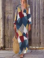 Недорогие -Жен. Уличный стиль Элегантный стиль А-силуэт С летящей юбкой Платье - Полоски Геометрический принт, С принтом Макси