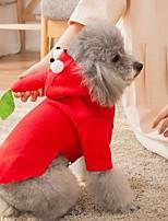 Недорогие -Собаки Коты Животные Костюмы Комбинезоны Одежда для собак Животное Красный Полиэстер Костюм Назначение Зима Животный принт Хэллоуин