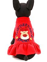 Недорогие -Собаки Коты Животные Платья Одежда для собак Северный олень Красный Полиэстер Костюм Назначение Зима Праздник Рождество